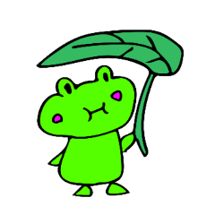 Japanese happy green frog