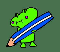 Japanese happy green frog sticker #14987216