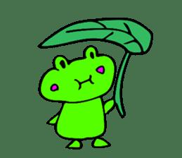 Japanese happy green frog sticker #14987217