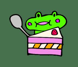 Japanese happy green frog sticker #14987218
