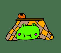 Japanese happy green frog sticker #14987221