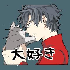 Silver cat&Japanese Boy