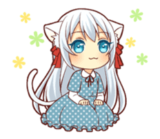 Fluffy white cat girl animated sticker #15129016