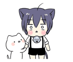Boy of the black cat which moves2 sticker #15134153