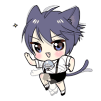 Boy of the black cat which moves2 sticker #15134157