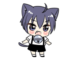 Boy of the black cat which moves2 sticker #15134158