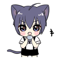 Boy of the black cat which moves2 sticker #15134160