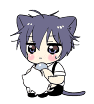 Boy of the black cat which moves2 sticker #15134167