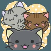 สติ๊กเกอร์ไลน์ UZA-KAWA CATS TRIO
