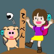 สติ๊กเกอร์ไลน์ Mountain girl Aki & Futo 2