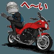 สติ๊กเกอร์ไลน์ Red motorcycle geek odd rider