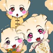 สติ๊กเกอร์ไลน์ Lovely Rougey Baby Dumplings Korean