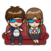 Mr.Dark eyebrowns&Ms.Circle Eye in love sticker #15499393