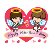 Mr.Dark eyebrowns&Ms.Circle Eye in love sticker #15499406