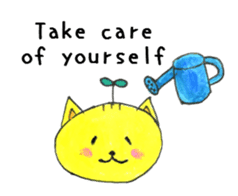 To you who are sick. Sick condition cat sticker #15514796