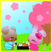 สติ๊กเกอร์ไลน์ Rabbit and bear daily(Spring)