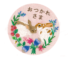 Embroidery of cute animals3 sticker #15623806