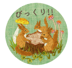 Embroidery of cute animals3 sticker #15623810