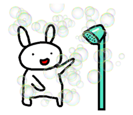 A relaxing white rabbit sticker #15646576