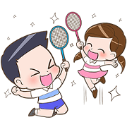 สติ๊กเกอร์ไลน์ Badminton by Memee.