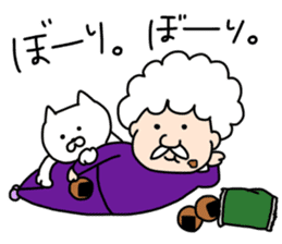 Afro Grandpa and cat sticker #15690361