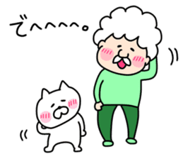 Afro Grandpa and cat sticker #15690375
