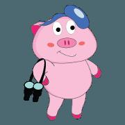 สติ๊กเกอร์ไลน์ Summer Time: The Plump Pink Animated