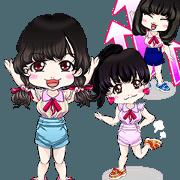 สติ๊กเกอร์ไลน์ Harajuku system Yale cute girls Italian