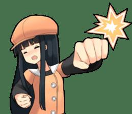 Long black hair detective girl sticker #15724328