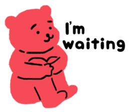 Reply in cheerful English of a red bear sticker #15726760