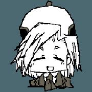 สติ๊กเกอร์ไลน์ Nemu chan of a beret's cap