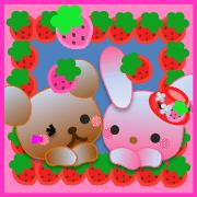 สติ๊กเกอร์ไลน์ Rabbit and bear daily(Strawberry)