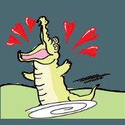 สติ๊กเกอร์ไลน์ Crocodile and chicken