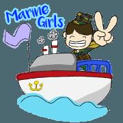 สติ๊กเกอร์ไลน์ ทหารเรือหญิงน่ารัก