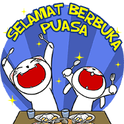 สติ๊กเกอร์ไลน์ White Weird Cat & Rabbit : Ramadhan 1
