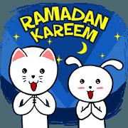 สติ๊กเกอร์ไลน์ White Weird Cat & Rabbit : Ramadan