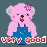 สติ๊กเกอร์ไลน์ pink naughty bear
