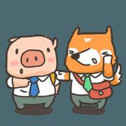 สติ๊กเกอร์ไลน์ Who is Piggy and Foxy ?