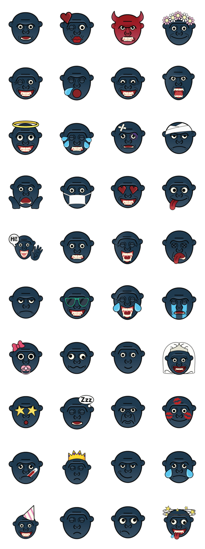 สติ๊กเกอร์ไลน์ Gorilla Emoji