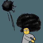 สติ๊กเกอร์ไลน์ the afro hair man