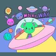 สติ๊กเกอร์ไลน์ Cute Aliens in the Milky Way