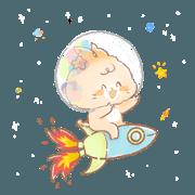 สติ๊กเกอร์ไลน์ น้องแมวชานมท่องอวกาศ
