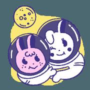 สติ๊กเกอร์ไลน์ บันบันและดันดัน ไปดวงจันทร์กันเถอะ