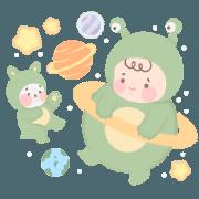 สติ๊กเกอร์ไลน์ Baby and Bunny : Into the Galaxy (EN)