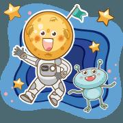 สติ๊กเกอร์ไลน์ Mr.Moon in space!