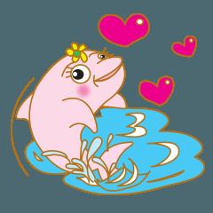 สติ๊กเกอร์ไลน์ Pinky Dolphin