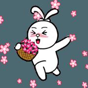 สติ๊กเกอร์ไลน์ Knot ear rabbit 1 - daily life