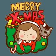 สติ๊กเกอร์ไลน์ Marshmallow girl'-Merry Xmas &New Year