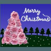 สติ๊กเกอร์ไลน์ Animation! rose (Christmas, New Year's)