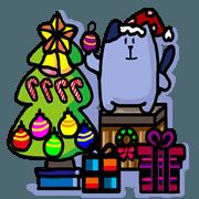 สติ๊กเกอร์ไลน์ Du A HO cat's Merry Christmas